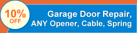 10% OFF - garage door repair, any opener, cable, spring